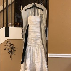 BCBG white gown with black sash